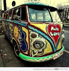 1960s Van Spreading Peace Through Flower Power - 1960s Van Spreading Peace Through Flower Power - Flower Power emerged in early 60s as a gesture of non violence amidst Vietnam war.