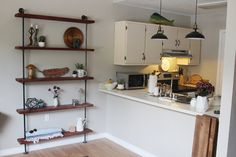 Industrial wall unit, Reclaimed wood shelves, Wood shelves, Pipe shelf, Pipe shelving, Wood and metal, Book shelf, Bar shelves,Storage shelf