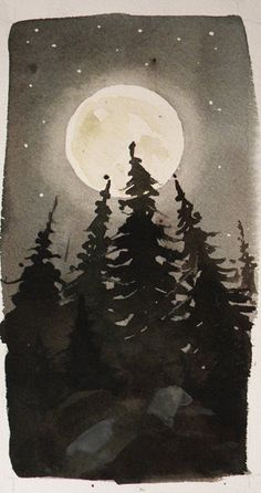 Watercolour lesson - one colour = many tones Original Watercolor Landscape - Moonlight Treeline.