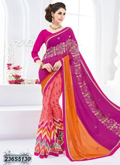 Voguish Peach and Pink Coloured Georgette Printed Saree