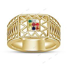 Men's Jewelry Multi Color Navratna Stone Ring in Solid 925 Sterling Silver  #Affoin8 #NavratnaRing #EngagementWeddingAnniversary
