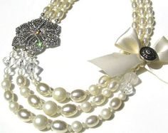 Handmade Bridal Brooch and Satin Bow Pearl Necklace, wedding, special occasion