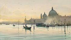 Original watercolour painting Grand Canal Venice by Joseph Zbukvic (watercolor)