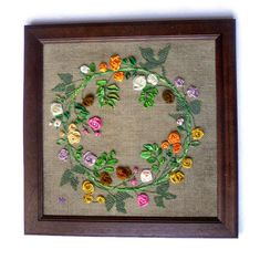 Wreath roses Wall hanging Textile painting Framed Ribbon embroidery Fiber Art