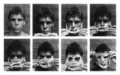 """Gordon Bennett's (born 1955) """"Self portrait (Nuance II)"""" (1994) knowingly employs black-and-white photography in order to evoke the austere aesthetic of experimental art from the 1970s"""