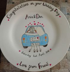 A personal favourite from my Etsy shop https://www.etsy.com/uk/listing/288711117/personalised-wedding-plate-for-the-bride