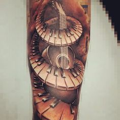 gutair tattoo | Piano Keys And Guitar Grey Ink Tattoo