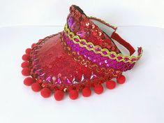 3f5d69c5b06c1 Festival Red Pink + Gold Sequin Rhinestone Visor Hat with Pom Poms. Burning  Man Costume