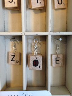 "Handmade - Upcycled/ Recycled/ Repurposed ""Scrabble"" Tile Letter Game Piece Earrings on Etsy, $7.99"