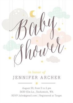 Whimsical, Grey Baby Shower Invitations From Minted By Independent Artist Heather Francisco. Grey Baby Shower, Gender Neutral Baby Shower, Baby Shower Games, Baby Shower Parties, Party Invitations Kids, Invitation Ideas, Shower Invitation, Baby Shower Invitaciones, Baby Shower Decorations For Boys