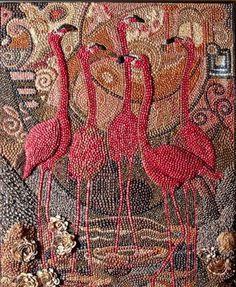 flamingo  sea shell art