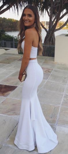 Sexy Two Piece White Mermaid Long Prom Dress Evening Dress #2018promdress #twopiece #promdress #mermaid