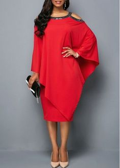 Great dress for anyone with unwanted curves and muffin tops. #red #dress #formal #curvy #modest #office #modest