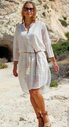 """Купить Кружевное платье """"Пенки"""" - белый, летнее платье, оверсайз размер, платье большого размера"""