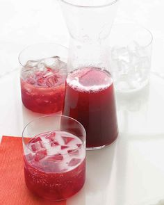 Pomegranate-Champagne Punch Mix pear nectar and orange liqueur with pomegranate juice and a bottle of Champagne to create a love-filled punch.