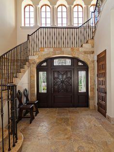 Stunning Residence Design Full Of Comfort : Fascinating Mediterranean Moorish Compound Entry Tile Wood Door
