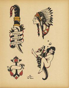 Old School Tattoo Flash | KYSA #ink #flash #tattoo Fan de la femme sur l'hippocampe comme tatouage