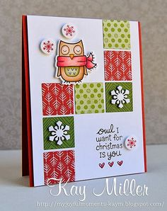 Lawn Fawn - Winter Owl and coordinating die, Fa La La paper _ beautiful design by Kay! Homemade Christmas Cards, Homemade Cards, Simple Christmas, Xmas Cards, Holiday Cards, Winter Karten, Owl Card, Winter Cards, Card Making Inspiration