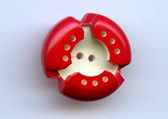 Vintage Italian Casein Button Bright Red and White Pierced Layered Triad Design