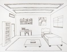 Room interior drawing showing One-Point Perspective. One Point Perspective Room, 1 Point Perspective Drawing, Perspective Art, Interior Architecture Drawing, Drawing Room Interior, Interior Sketch, Drawing Lessons, Art Lessons, Drawing Tips