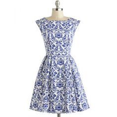 Retro Style Pockets-Attached Boat Neck Blue Floral Print Women's Dress (BLUE,M) in Vintage Dresses | DressLily.com