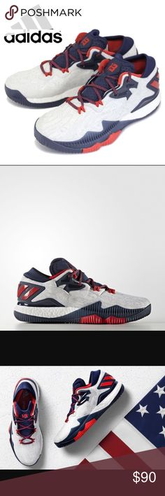 **NWT** JAMES HARDEN CRAZYLIGHT BOOST LOW ADIDAS CRAZYLIGHT BOOST LOW 2016 SHOES LIGHT, FAST SHOES WITH USA PRIDE. Made for full-speed assaults on the hardwood, these men's basketball shoes are light and agile. They ride a full-length boost™ midsole for ultimate energy return in every step. The jacquard upper has a low profile and comes in USA-themed colors. **SHOES ARE BRAND NEW 100% AUTHENTIC -BOX IS MISSING TOP THO. Adidas Shoes Sneakers