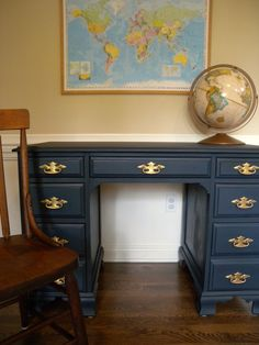 Clockworkinteriors.com - Garage sale dresser gets an Americana makeover with navy milk paint and paired with antique farmhouse chair.