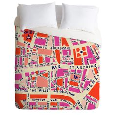 Holli Zollinger Paris Map Pink Duvet Cover | DENY Designs Home Accessories