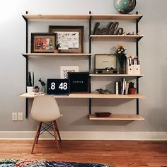 wknd projects – Home Inspiration Home Office Space, Home Office Design, Home Office Decor, House Design, Home Decor, Living Room Shelves, Diy Wall Shelves, Diy Shelving, Wall Mounted Shelves