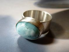 Larimar silver ring handmade metalwork ring natural by Mirma