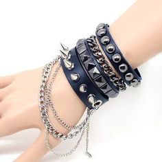 Cool Punk Rock Rivet Multi layer Spiked with Chain Suit Leather Wristband Bracelet Unisex Bangle by Easygoby -- Awesome products selected by Anna Churchill Emo Mode, Punk Mode, Punk Outfits, Gothic Outfits, Tomboy Outfits, Gothic Dress, Rave Outfits, Lolita Dress, Emo Fashion