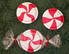 finished paper plate mint candy decorations & amy d ...randomly me: paper plate peppermint candy tutorial ...