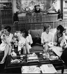 Baroness Edmond de Rothschild, French actress Anouk Aimee, Marie-Helene de Rothschild (Baroness Guy de Rothschild), and designer Coco Chanel, wearing one of her own suits, 1966