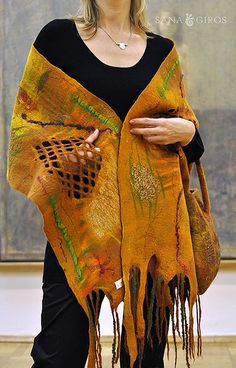 """Nuno felted scarf and bag """"Aztec gold"""""""