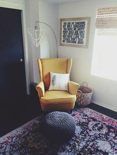 modern streamline bohemian nursery /// eclectic nursery /// boho nursery #iconicstyling  ikea yellow wingback chair