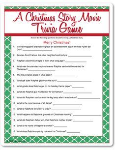 A Christmas Story Movie Trivia Of Christmas Trivia Questions And Answers Printable Christmas Trivia Questions, Christmas Movie Trivia, Christmas Story Movie, Fun Christmas Party Games, Xmas Games, Holiday Games, Xmas Party, Christmas Activities, Family Christmas