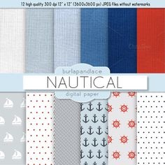 Nautical digital paper by burlapandlace on Creative Market