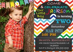 Printable Rainbow Birthday Invitations ~ Chevron chalkboard st birthday invitations with chevron