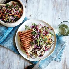 Sesame Cabbage Salad with Grilled Salmon | MyRecipes.com There are lots of sustainable salmon options available now, from wild Alaskan to farmed U.S. species. Keep this easy recipe in mind for times when you have leftover cabbage in the fridge.
