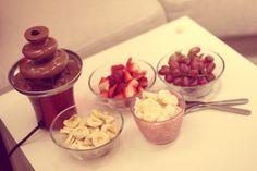 healthy! Chocolate Fondue, Healthy, Desserts, Food, Deserts, Tailgate Desserts, Essen, Postres, Meals