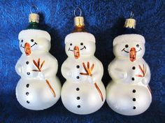 Snowmen Christmas Ornaments- three handcrafted in Czech Republic as indicated on the top of each cap.  Pristine condition, add to your tree!