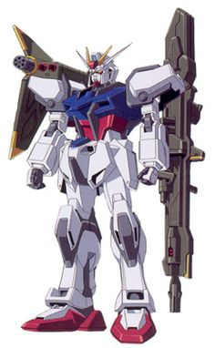 GAT-X105+AQM/E-X03 Launcher Strike is a prototype heavy assault mobile suit, it is featured in the anime Mobile Suit Gundam SEED. Its primary pilot was Kira Yamato before it was passed down to ace pilot Mu La Flaga.