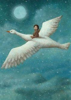 Whimsical artwork of a child on a bird's back. Fuchs Illustration, Children's Book Illustration, Book Illustrations, Art Beauté, Photo D Art, Grand Tour, Moon Art, Whimsical Art, Stars And Moon