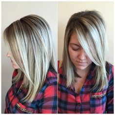 Soft blonde shadow root done by Charmaine at CharMarie Salon in Christiansburg Virginia.