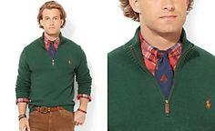 Polo Ralph Lauren High-Twist Cotton Half-Zip Mockneck Sweater