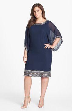 $248 14W J Kara Embellished Chiffon Dress Navy