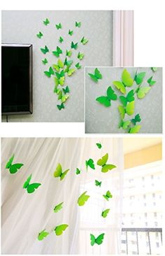 EMIRACLEZE Christmas Gift Holiday Shopping 3D Green Freshness Vivid Flying Butterfly Removable Mural Wall Stickers Wall Decal for Home Decor(Green) *** Read more reviews of the product by visiting the link on the image.