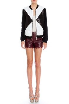 COLOR BLOCK WITH SEQUIN DETAIL ZIPPER FRONT, $60.00 by Appealing Fashion