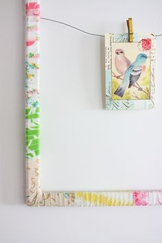 Repurpose fabric scraps to decorate inexpensive frames- love this decorating idea!