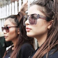 Jeky Lee and Karolina in Parklife Sunglasses in Pink and Genesis AAA Sunglasses in Clear.